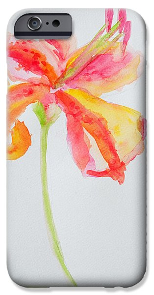 Vivid Drawings iPhone Cases - Watercolor Flower Oriental Lily iPhone Case by Patricia Awapara