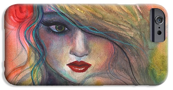 Vibrant Colors Drawings iPhone Cases - Watercolor girl portrait with flower iPhone Case by Svetlana Novikova