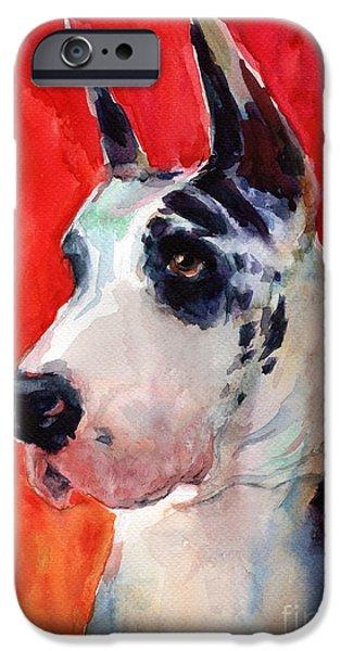 Great Dane iPhone Cases - Watercolor Harlequin Great Dane Dog Portrait 2  iPhone Case by Svetlana Novikova