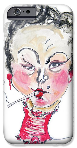 Caricature Drawings iPhone Cases - Watercolor illustration art iPhone Case by Marian Voicu