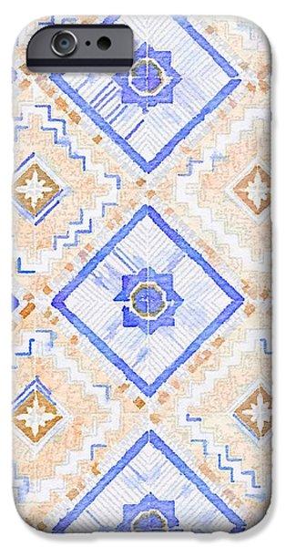 Mosaic iPhone Cases - Watercolor Italian Ceramic Tile iPhone Case by Ariane Moshayedi