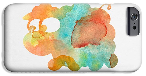 Nursery Art iPhone Cases - Watercolor Lamb for Nurseries iPhone Case by Nursery Art