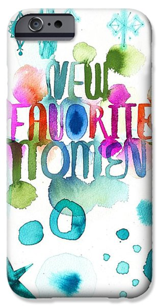Colorful Abstract iPhone Cases - Watercolor New Favorite Item Lettering iPhone Case by Gillham Studios