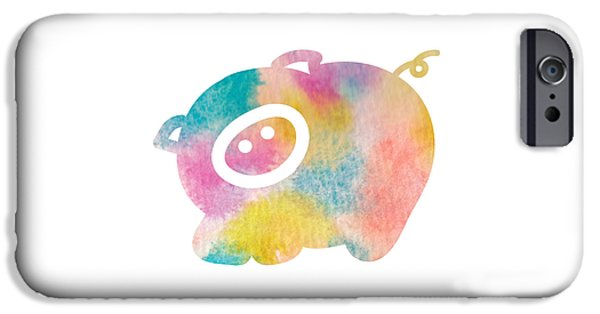 Nursery Art iPhone Cases - Watercolor nursery print - cute pig iPhone Case by Nursery Art