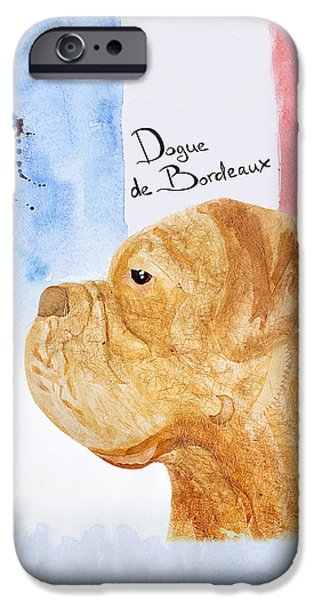 Cute Puppy iPhone Cases - Watercolor postcard Dog Dogue de Bordeaux iPhone Case by Maryna Lievshyna