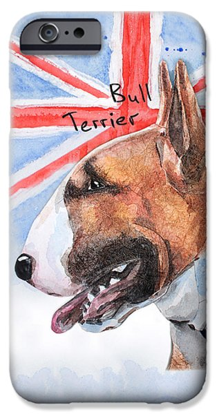 Cute Puppy iPhone Cases - Watercolor postcard Dogs Bull Terrier iPhone Case by Maryna Lievshyna
