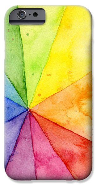 Geometric Shape iPhone Cases - Watercolor Rainbow Beachball Pattern iPhone Case by Olga Shvartsur