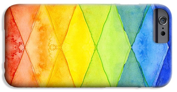 Shapes Paintings iPhone Cases - Watercolor Rainbow Pattern Geometric Shapes Triangles iPhone Case by Olga Shvartsur