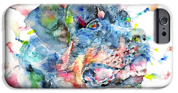 Police Dog iPhone Cases - Watercolor Rottweiler iPhone Case by Fabrizio Cassetta