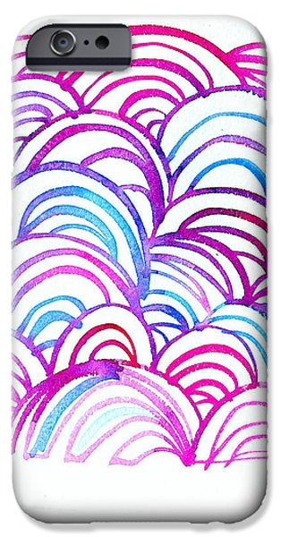 Art Nouveau Style iPhone Cases - Watercolor Scallops In Pink And Blue iPhone Case by Gillham Studios