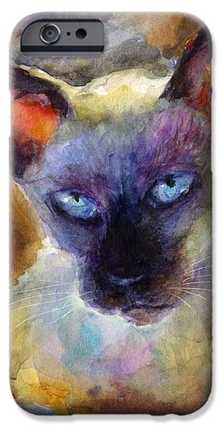 Watercolor siamese cat painting iPhone Case by Svetlana Novikova