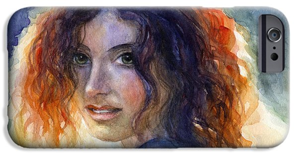 People Drawings iPhone Cases - Watercolor Sunlit Woman Portrait 2 iPhone Case by Svetlana Novikova
