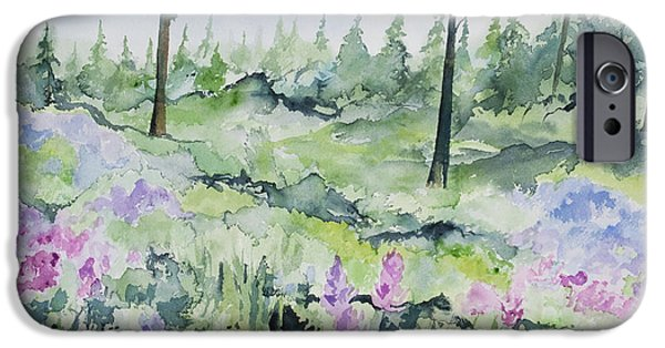 Pines iPhone Cases - Watercolor - Wildflowers and Pines iPhone Case by Cascade Colors