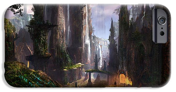 Best Sellers -  - Concept Digital iPhone Cases - Waterfall Celtic Ruins iPhone Case by Alex Ruiz