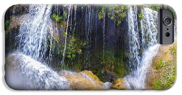 Rain Tapestries - Textiles iPhone Cases - Waterfall in Rain iPhone Case by James Hennis