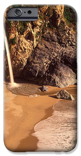 Big Sur Ca iPhone Cases - Waterfall, Mcway Cove, Big Sur, Ca iPhone Case by Panoramic Images