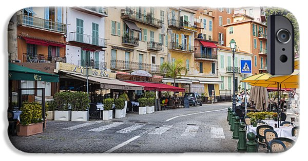 Village iPhone Cases - Waterfront restaurants in Villefranche-sur-Mer iPhone Case by Elena Elisseeva