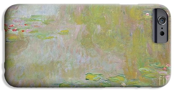 Aqua iPhone Cases - Waterlilies at Giverny iPhone Case by Claude Monet