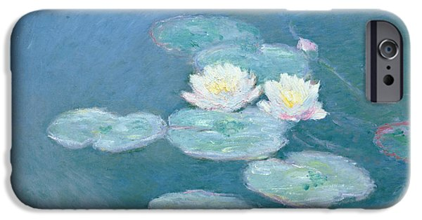 Plants iPhone Cases - Waterlilies Evening iPhone Case by Claude Monet
