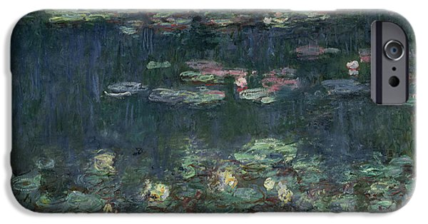 Reflection Paintings iPhone Cases - Waterlilies Green Reflections iPhone Case by Claude Monet