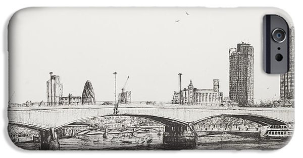 Boats In Water iPhone Cases - Waterloo Bridge iPhone Case by Vincent Alexander Booth