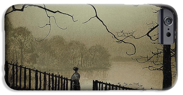 The Fall iPhone Cases - Waterloo Lake Roundhay Park Leeds iPhone Case by John Atkinson Grimshaw