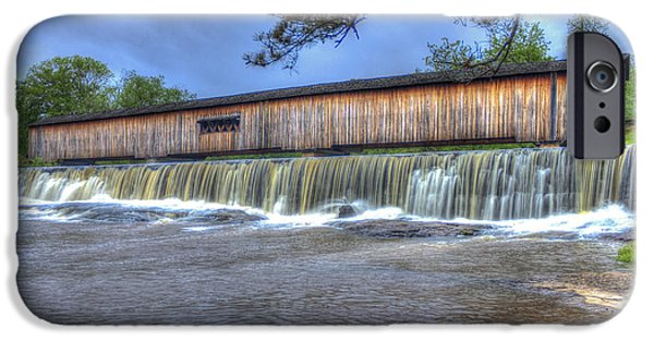Grist Mill iPhone Cases - Watson Mill Covered Bridge Stae Park iPhone Case by Reid Callaway