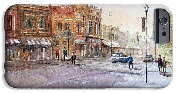Wisconsin Paintings iPhone Cases - Waupaca - Main Street iPhone Case by Ryan Radke