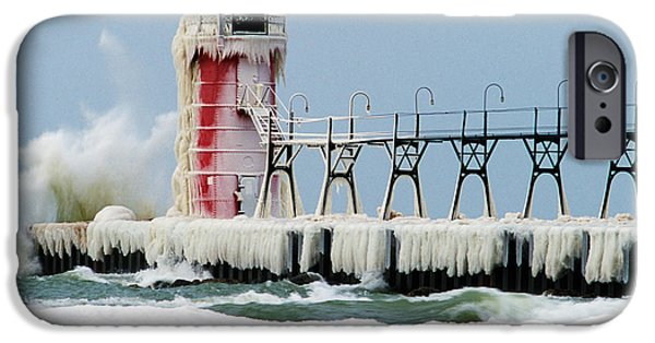 Snowy Day iPhone Cases - Wave Crashing On Snow-covered South iPhone Case by Panoramic Images