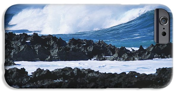 Best Sellers -  - Turbulent Skies iPhone Cases - Waves And Rocks iPhone Case by Kyle Rothenborg - Printscapes