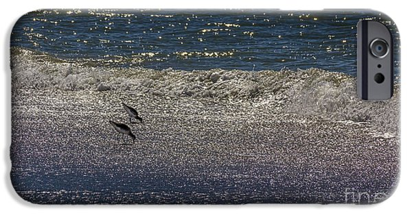 Sea Birds Photographs iPhone Cases - Waves And Sparkling Sand iPhone Case by Marvin Spates