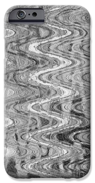 Abstract Digital Tapestries - Textiles iPhone Cases - Waves Black iPhone Case by Angela Heath FabricWorks Studio