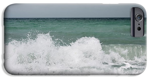 Big Wave iPhone Cases - Waves Breaking On Shore And Overcast Sky iPhone Case by Gillham Studios