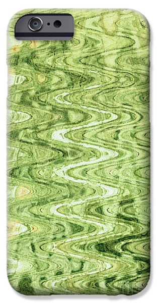 Abstract Digital Tapestries - Textiles iPhone Cases - Waves Celadon iPhone Case by FabricWorks Studio