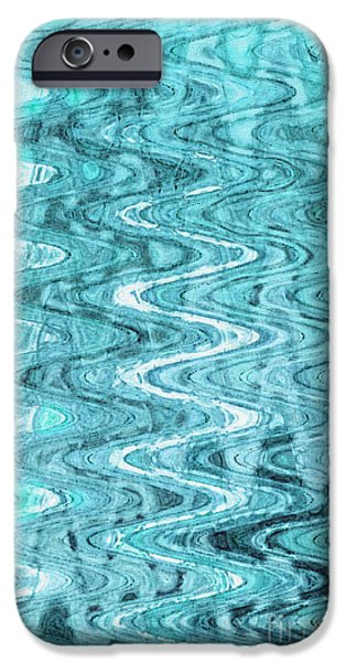Abstract Digital Tapestries - Textiles iPhone Cases - Waves Blue iPhone Case by FabricWorks Studio