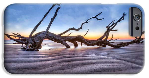 Blue Abstracts iPhone Cases - Waves in the Sand iPhone Case by Debra and Dave Vanderlaan