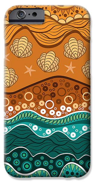 Abstract Digital Art iPhone Cases - Waves iPhone Case by Veronica Kusjen