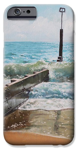Marine iPhone Cases - Waves with beach groin iPhone Case by Martin Davey