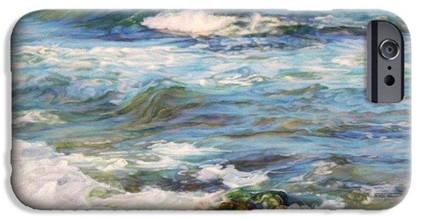 Remnants Paintings iPhone Cases - Waving sea... iPhone Case by Maya Bukhina