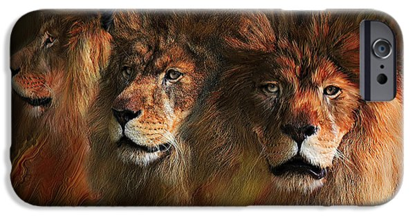 African Lion Art iPhone Cases - Way Of The Lion iPhone Case by Carol Cavalaris