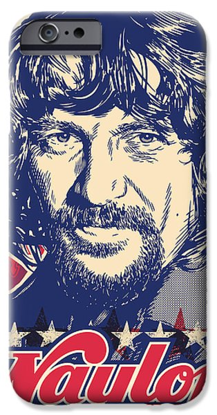 Johnny iPhone Cases - Waylon Jennings Pop Art iPhone Case by Jim Zahniser