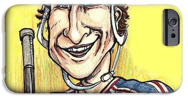 Caricature Portraits iPhone Cases - Wayne Gretsky Caricature iPhone Case by John Ashton Golden