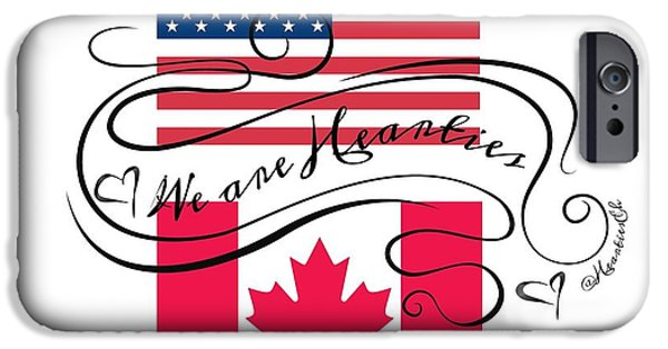 Flag iPhone Cases - We are Hearties US and CAN flags iPhone Case by Hearties Designs