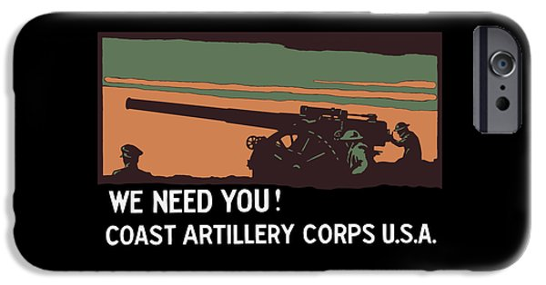 Wwi iPhone Cases - We Need You - Coast Artillery Corps USA iPhone Case by War Is Hell Store