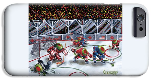 Hockey Paintings iPhone Cases - We Olive Hockey iPhone Case by Michael Godard