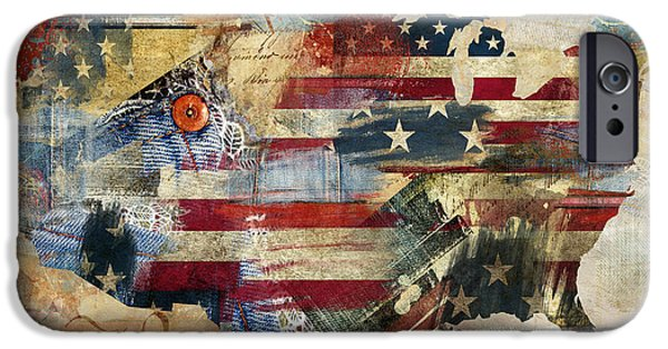 Old Glory Paintings iPhone Cases - We The People Map America iPhone Case by Mindy Sommers