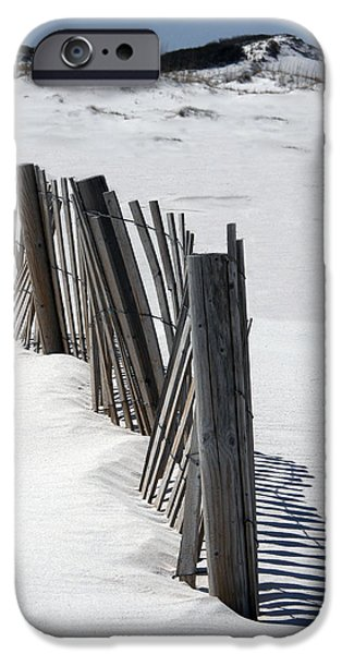 Sand Dunes Mixed Media iPhone Cases - Weathered Fence on Destin Sand Dunes  iPhone Case by Deb JAZI Raulerson