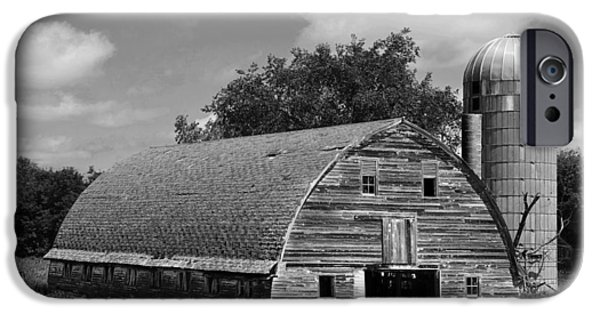 Old Barn Photo Photographs iPhone Cases - Weathered Gray Barn with Silo iPhone Case by Donald  Erickson