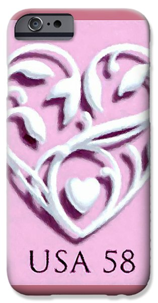 Beauty Mark Paintings iPhone Cases - Wedding Hearts iPhone Case by Lanjee Chee