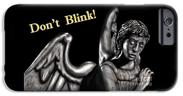 Weeping Drawings iPhone Cases - Weeping Angel iPhone Case by Dan Klimut